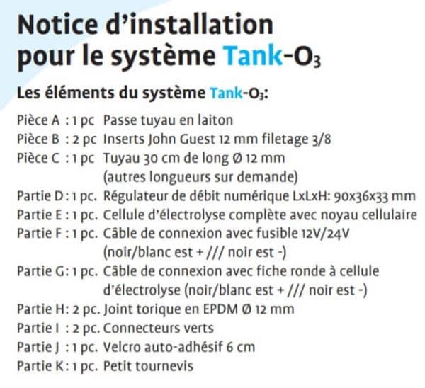 Kit Tank O3, Contenu