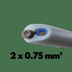 Cable, Souple, H05VVF, 2 conducteurs, 0.75 mm²
