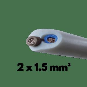Cable, Souple, H05VVF, 2 conducteurs, 1.5 mm²