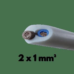 Cable, Souple, H05VVF, 2 conducteurs, 1 mm²